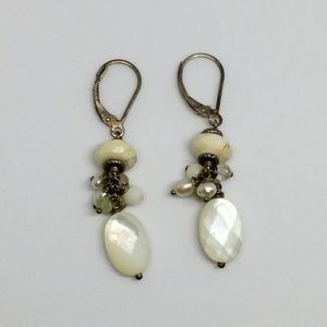 Mother of Pearl Howlite Quartz Sterling Earrings